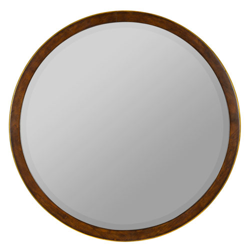 Daniel Round Beveled Wood Mirror