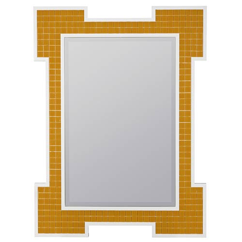 Captiva Orange and High Gloss White Rectangular Beveled Mirror