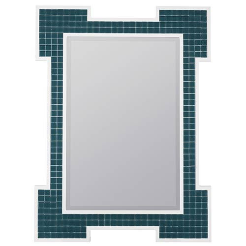 Cooper Classics Sanabel Turquoise and High Gloss White Rectangular Beveled Mirror