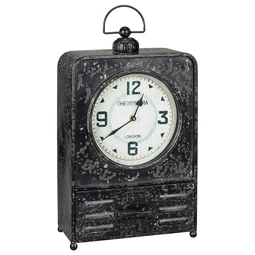 Patton Worn Black and Red Table Clock