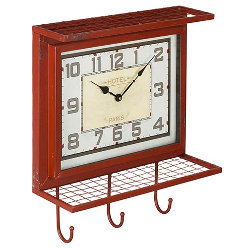 Cooper Classics Griffon Worn Red and Gray Wall Clock