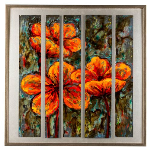 Cooper Classics Orange Flowers: 31.5 x 31.5-Inch Wall Art