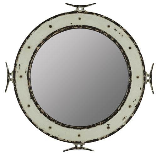 Nautical Distressed Cream and Aged Black Mirror