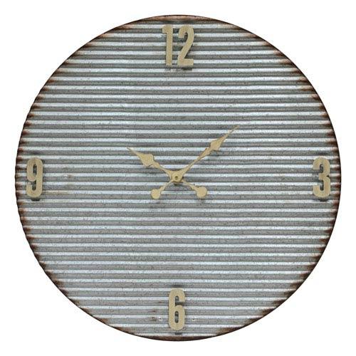 Argus Corrugated Galvanized Metal Clock with Cream Accents