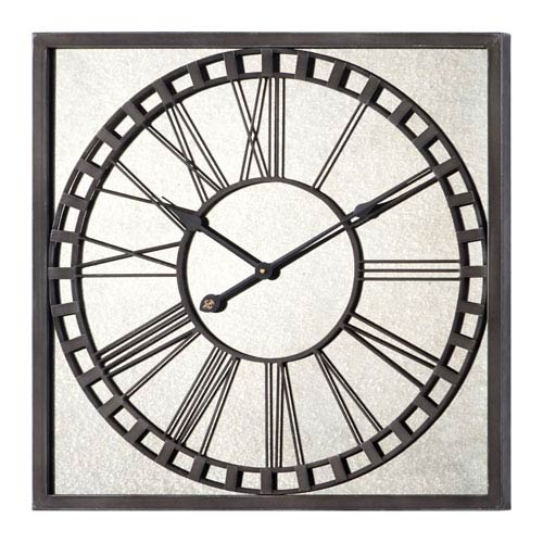 Lydia Gray Clock with Mercury Mirrored Glass
