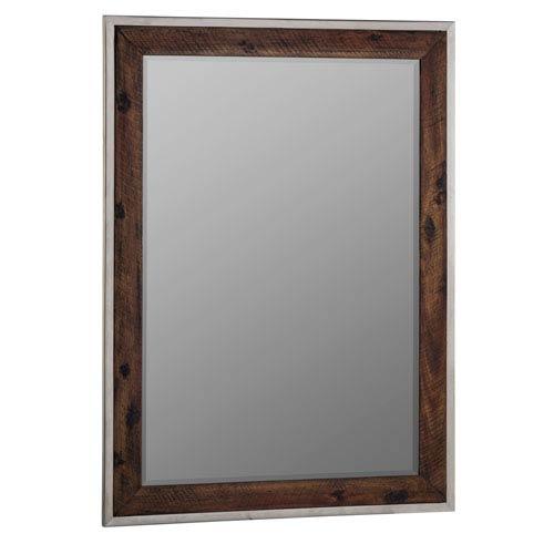 Clovis Stainless Steel Mirror with Dark Distressed Wood
