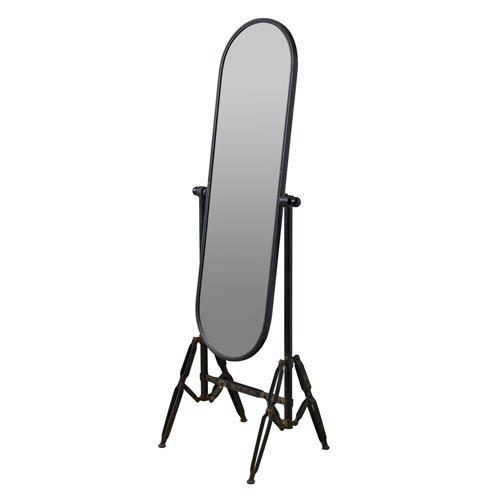 Industrial Black Floor Mirror