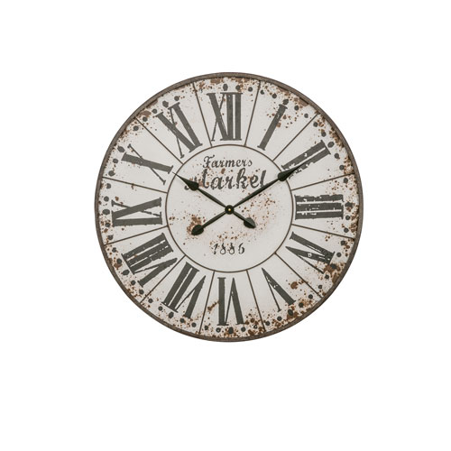 Farmers Market White Round Clock