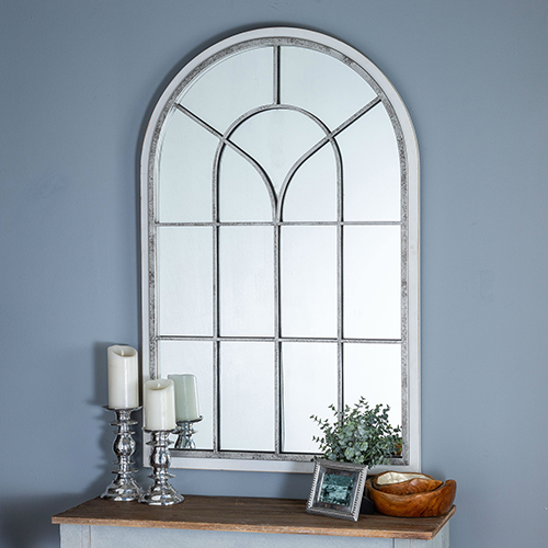 Layne Whitewash Floor Mirror with Antique Silver Accents