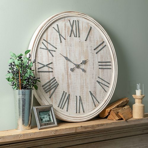 Chesterfield Distressed Whitewash Wall Clock