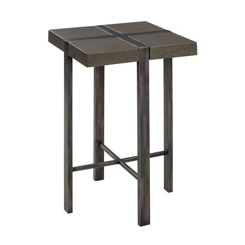 Fontana Gray Metal Side Table with Polished Concrete Top