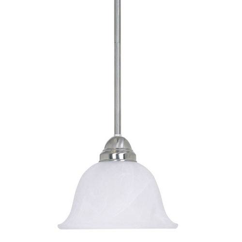 One-Light Satin Nickel Mini Pendant with Flared Faux Alabaster Glass Shade