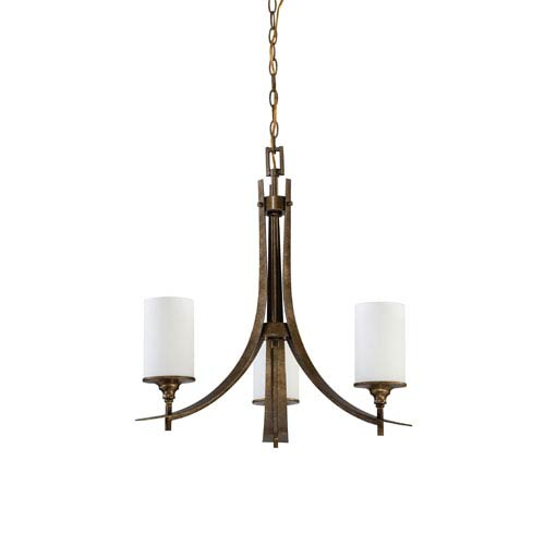 Sunset Lighting Empire Three-Light Antique Bronze Chandelier with Satin Cased Opal Glass