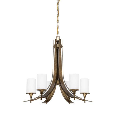 Sunset Lighting Empire Six-Light Antique Bronze Chandelier with Satin Cased Opal Glass