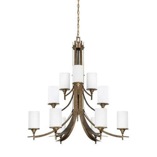 Sunset Lighting Empire Twelve-Light Antique Bronze Chandelier with Satin Cased Opal Glass