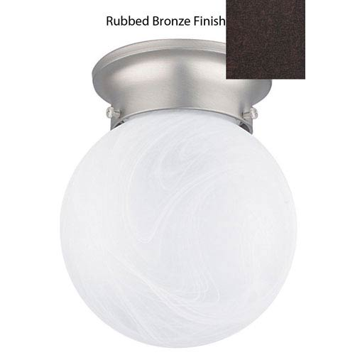 Sunset Lighting One-Light Rubbed Bronze Flush Mount with Faux Alabaster glass