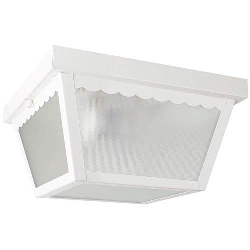 Sunset Lighting Outdoor Builders Two-Light White Outdoor Flush Mount with Textured Glass