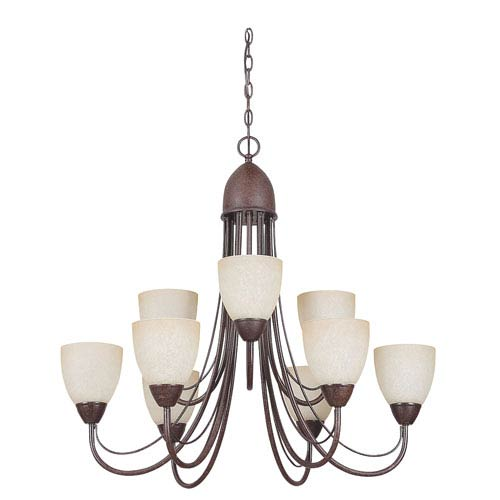 Sunset Lighting Tempest Nine-Light Rubbed Bronze Chandelier with Alpine Glass