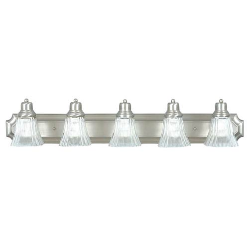 Five-Light Satin Nickel Vanity Fixture with Prismatic Clear Glass