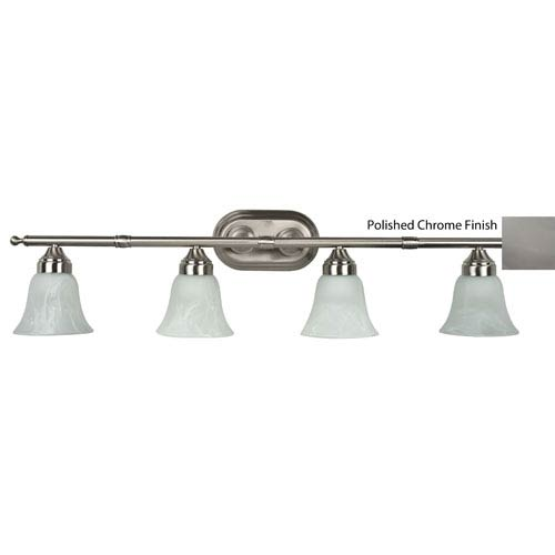 Four-Light Polished Chrome Bath Bar with Faux Alabaster Glass