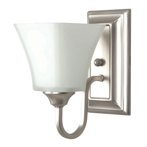 Sunset Lighting One-Light Satin Nickel Bath Wall Sconce with Square Milk Glass