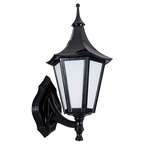 Sunset Lighting One-Light Black Polystyrene Fluorescent Outdoor Wall Lantern with White Plastic Lens