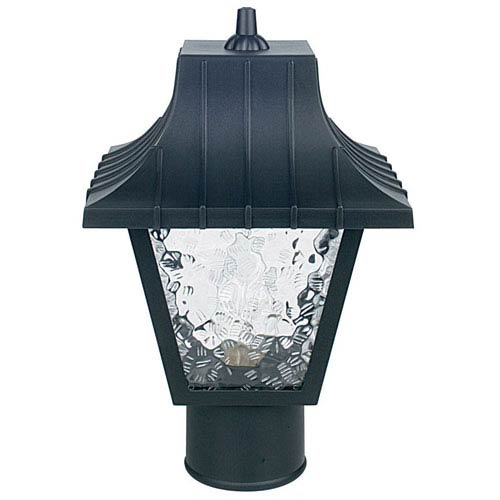 Sunset Lighting One Light Black Outdoor Post Fixture with Clear Flemish Panels