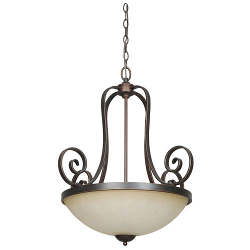 Sunset Lighting Provano Three-Light Large Tique Bronze Bowl Pendant with Buttercup Glass