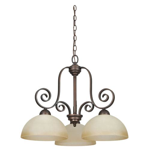 Sunset Lighting Provano Three-Light Tique Bronze Chandelier with Buttercup Glass