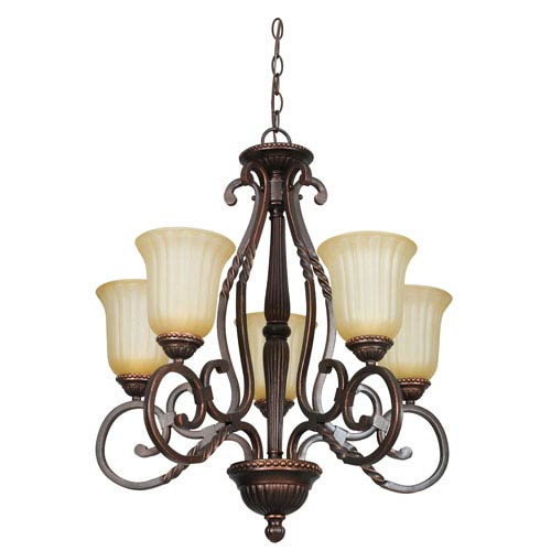 Sunset Lighting Graham Five-Light Mahogany Bronze Chandelier with Sandlewood Glass