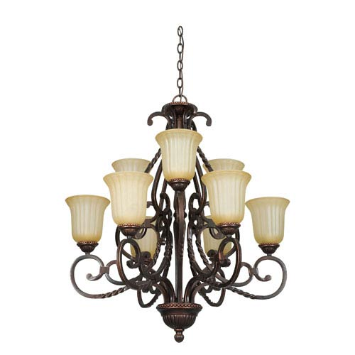 Graham Nine-Light Mahogany Bronze Chandelier with Sandlewood Glass