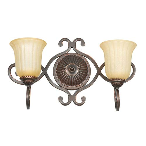 Sunset Lighting Graham Two-Light Mahogany Bronze Vanity Fixture with Sandlewood Glass