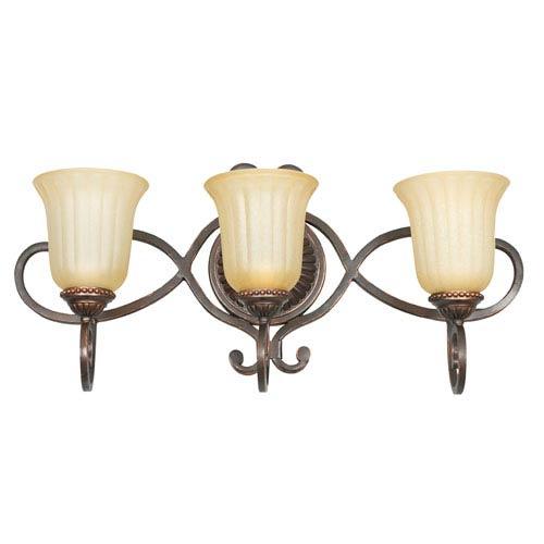 Sunset Lighting Graham Three-Light Mahogany Bronze Vanity Fixture with Sandlewood Glass