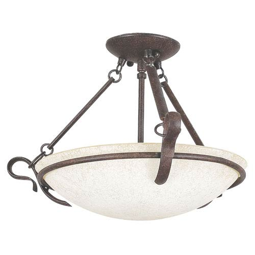 Sunset Lighting Venice Three-Light Rubbed Bronze Semi-Flush with Turismo Glass