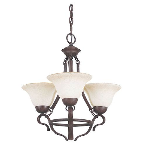 Sunset Lighting Venice Three-Light Rubbed Bronze Chandelier with Turismo Glass