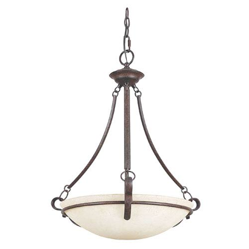 Venice Three-Light Rubbed Bronze Bowl Pendant with Turismo Glass