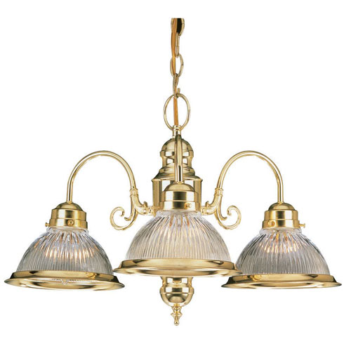 Sunset Lighting Three-Light Polished Brass Chandelier with Clear Prismatic Glass
