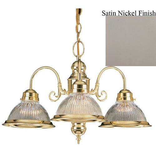 Sunset Lighting Three-Light Satin Nickel Chandelier with Clear Prismatic Glass
