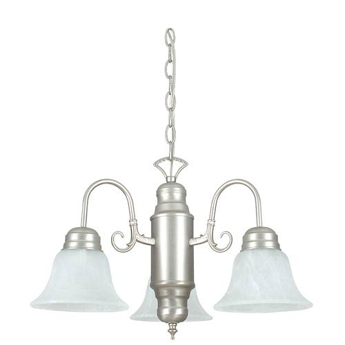 Sunset Lighting Three-Light Satin Nickel Chandelier with Faux Alabaster Glass