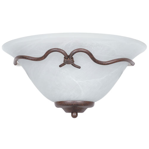 Madrid One-Light Rubbed Bronze Quarter Sconce with Faux Alabaster Glass