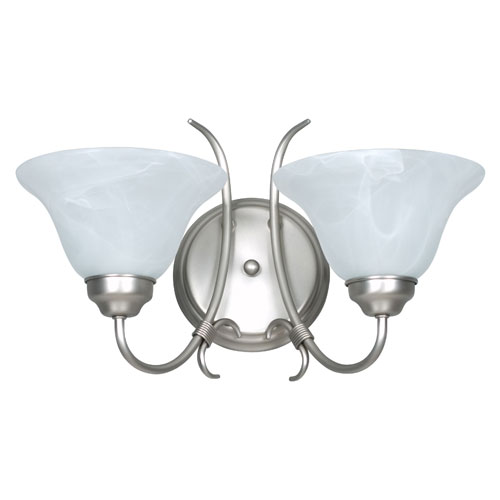 Sunset Lighting Madrid Two-Light Satin Nickel Wall Sconce with Faux Alabaster Glass