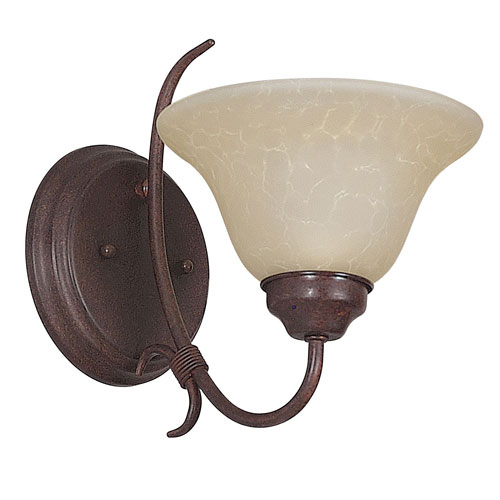 Sunset Lighting Madrid One-Light Rubbed Bronze Wall Sconce with Tea Stained Glass