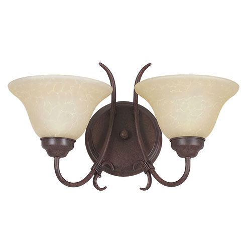 Sunset Lighting Madrid Two-Light Rubbed Bronze Wall Sconce with Tea Stained Glass