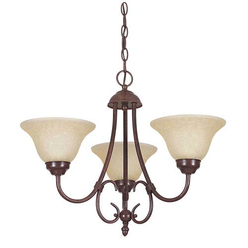 Madrid Three-Light Rubbed Bronze Chandelier with Tea Stained Glass