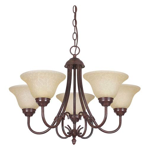 Sunset Lighting Madrid Five-Light Rubbed Bronze Chandelier with Tea Stained Glass