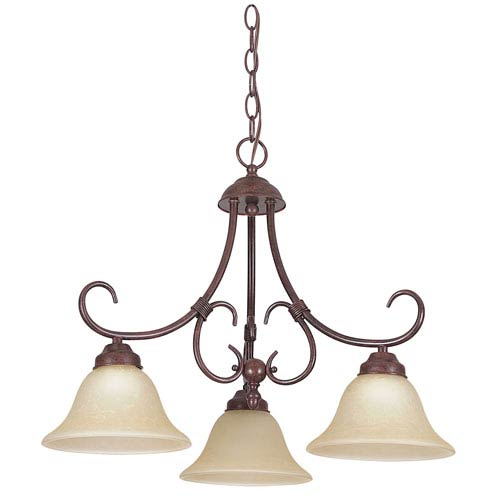 Madrid Three-Light Rubbed Bronze Down Chandelier with Tea Stained Glass