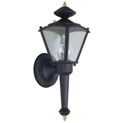Sunset Lighting One-Light Black Outdoor Wall Lantern with Clear Glass
