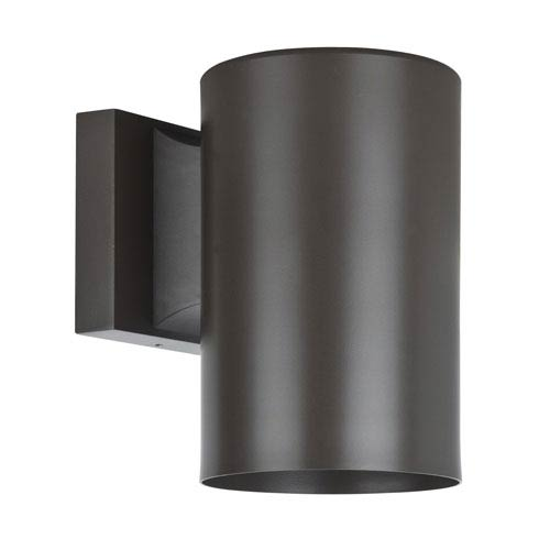 Architectural Outdoor One-Light Oil Bronze Aluminum Round Outdoor Wall Sconce