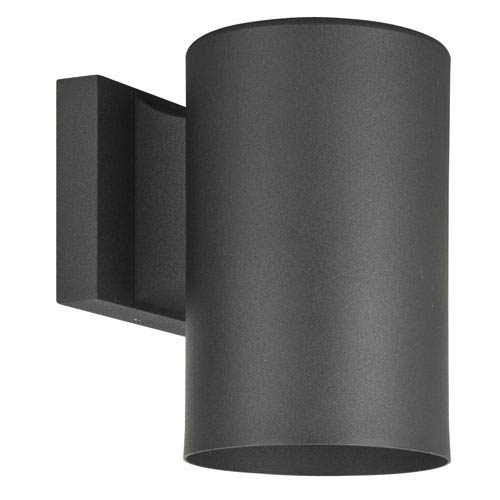Sunset Lighting Architectural Outdoor Fluorescent One-Light Black Aluminum Round Outdoor Wall Sconce