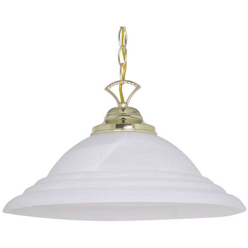 Sunset Lighting One-Light Polished Brass Pendant with Faux Alabaster Glass